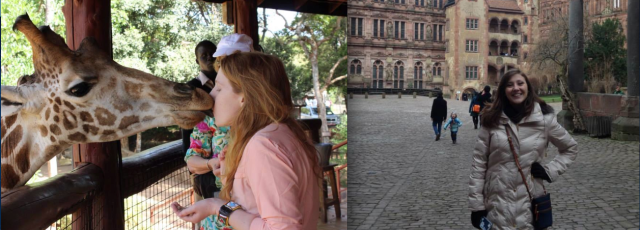 Jennifer Miller, in Nairobi, Kenya at Giraffe Manor (left) and her sister, Christine Miller at the Heidelberg Castle in Germany (right). Jennifer is an active Brother of Zeta Delta Chapter and Christine is alumni of Alpha Mu Chapter.