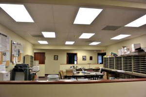 The work room where we pack and ship out packages to all of our Chapters is just one place at the National Headquarters that gets brand new energy efficient lights.
