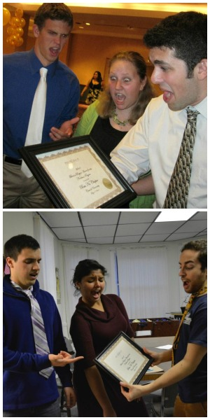 On top a photo of Beta Nu Alumni at National Convention with the Chapter's Best in Region award and below Brothers Biagio DisSalvo ('14), Paroma Chakavarty ('16) and Jeremy Feinstein ('14) re-creating the photo (with the same award that has been displayed in the Chapter house).