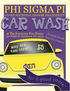 Car Wash Flyer used to advertise about the fundraising event made by Amy Rocha (2015).