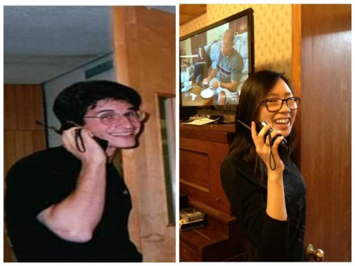 "On the left, the photo from 1995 that was sent in by an Alumnus and features an ""early model cell phone"" and on the right Brother Wendy Li ('16) re-creating the photo (using a touchscreen phone with a camera strap attached to simulate an old phone)!"