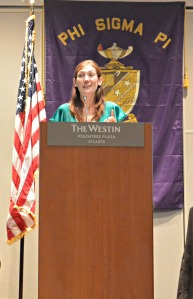 Shannon O'Donnell (Gamma Chi Chapter '06)  speaking at the 2014 Grand Chapter Meeting in Atlanta, Georgia.