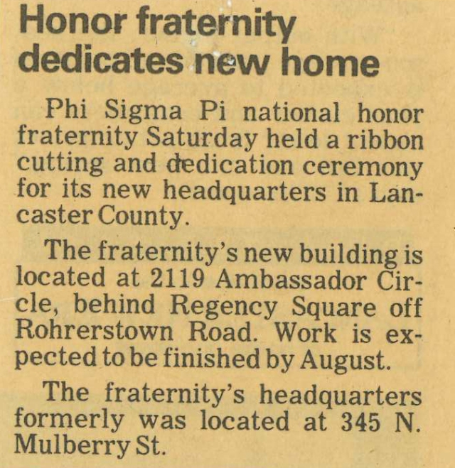 An announcement in a local Lancaster paper about the dedication of our Headquarters.