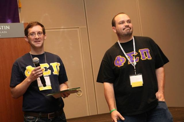 "Former National President Jonah Goodman (Delta Alpha Chapter '01) and current National President Matthew ""Fresh"" Nicoletta (Beta Kappa Chapter '03) give the State of the Fraternity speech."