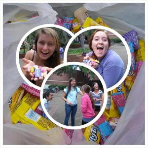 "The Gamma Epsilon Chapter handed out candy on a ""Day of Kindess"""