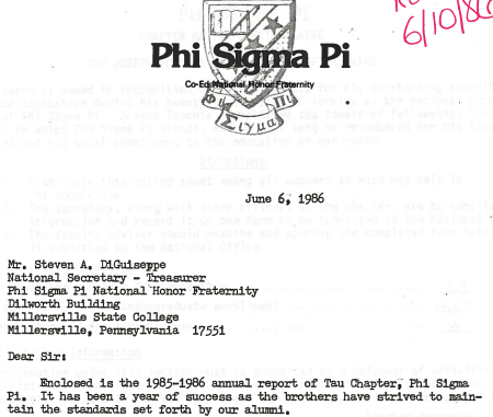 The 1986 annual report from the Tau Chapter.
