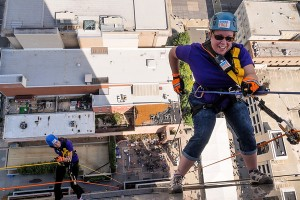 Tricia Andrews (Alpha Zeta Chapter '95) rappelled down a 400 ft building for the Special Olympics