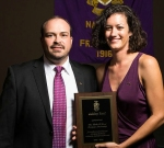 Ashley Lauren Reef (pictured here with National President Matthew Nicoletta), 2014 Rolla F. Wood Graduate Scholarship Recipient