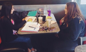 Members of the Delta Phi Chapter at Texas State University studying together.