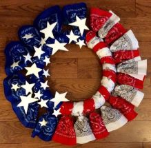 American Flag wreath made out of bandanas from the dollar store.