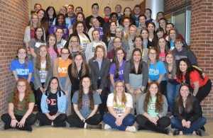 Caryn (second row, center) and the Iota Chapter at Bloomsburg University