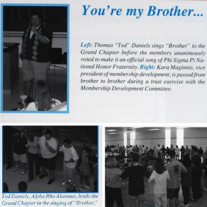 The Alpha Rho Chapter Alumni Banquet where Ted Daniels first sang Brother and Gigi Lieberman read a Brotherhood poem.